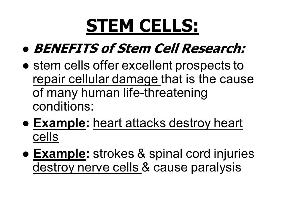 benefits of stem cell research Stem cell benefits since stem cells were discovered in teeth, hundreds of medical research studies at universities and research institutions began investigating how these easily-accessible stem cells can be used to develop new medical treatments for you and your family in the event of disease or injury.
