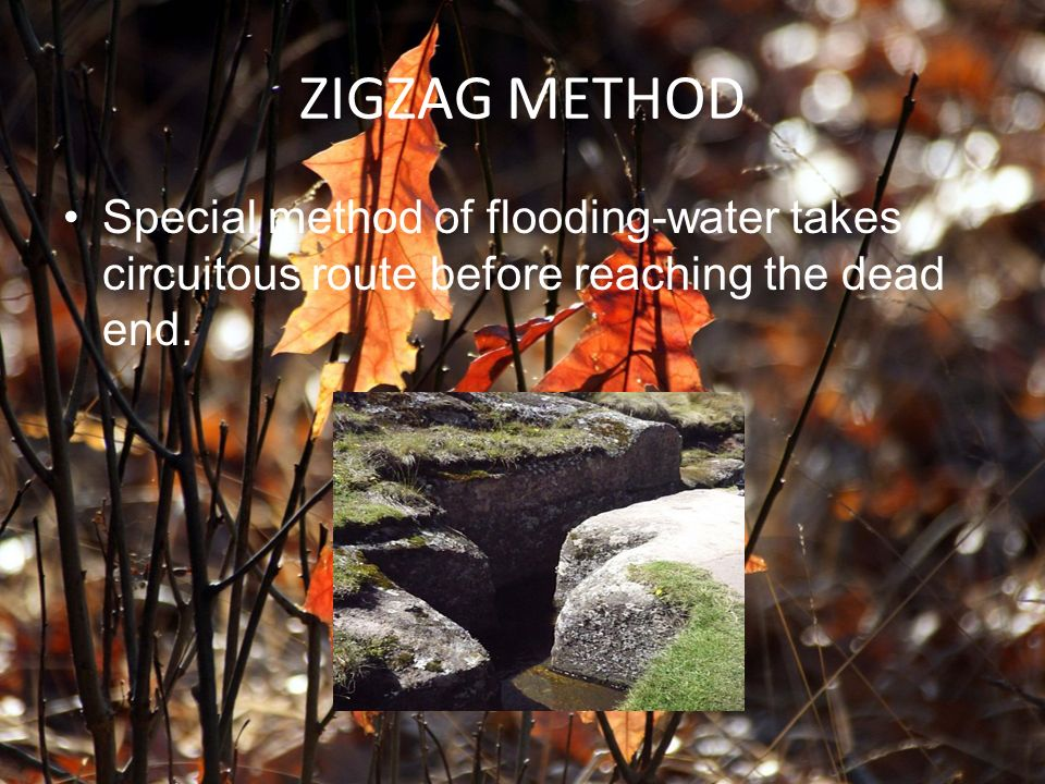 ZIGZAG METHOD Special method of flooding-water takes circuitous route before reaching the dead end.