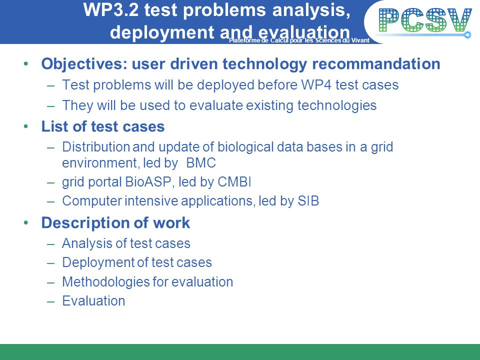 WP3.2 test problems analysis, deployment and evaluation