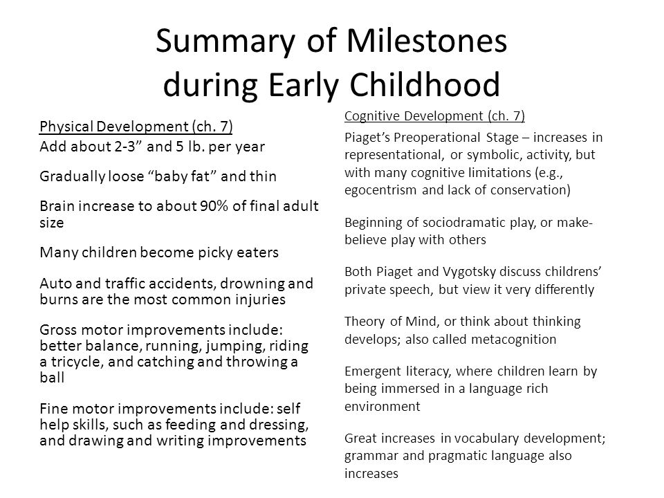developments during early childhood