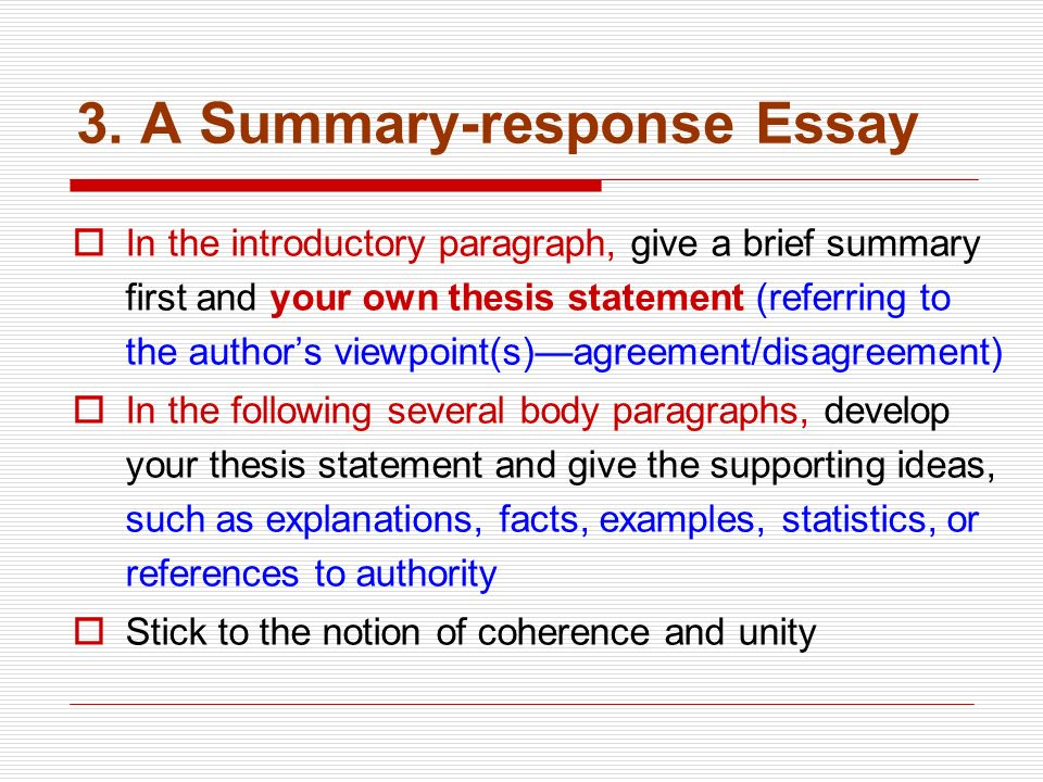 summary of essays There are two basic types of summaries: a reader summary, that you compose to develop a better understanding of what you have read, or a summary essay, which is written for others and is an overview of an original text.