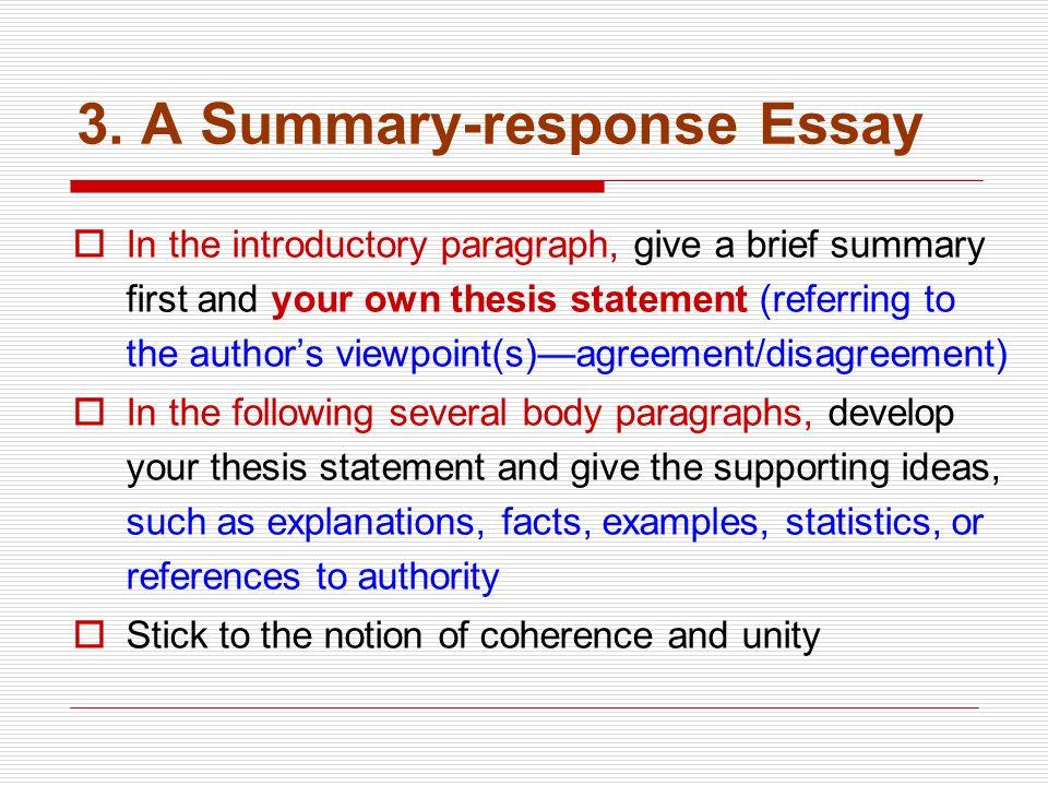 A Summary Response Essay