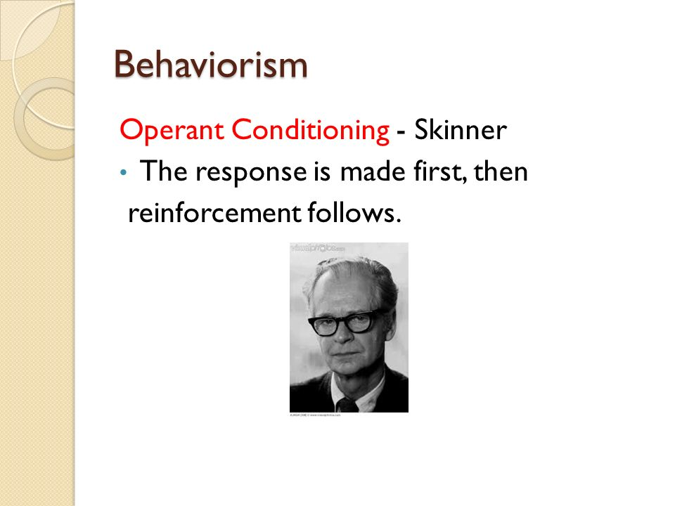 understanding the classical conditioning in behaviorism Role of learning theories in training while training the  which is derived from classical conditioning and  behaviorism cannot easily.