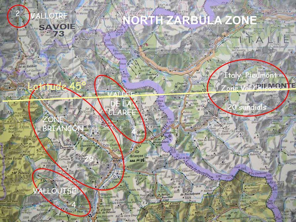 NORTH ZARBULA ZONE Latitude 45º 2 VALLOIRE Italy, Piedmont