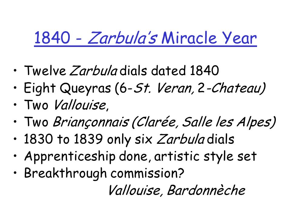 1840 - Zarbula's Miracle Year