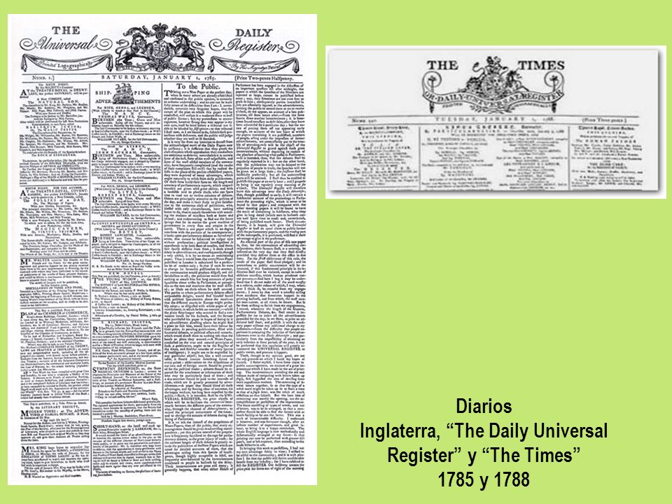 Inglaterra, The Daily Universal Register y The Times