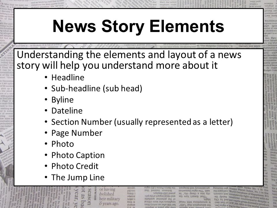elements of news