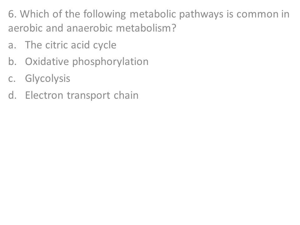 6. Which of the following metabolic pathways is common in aerobic and anaerobic metabolism