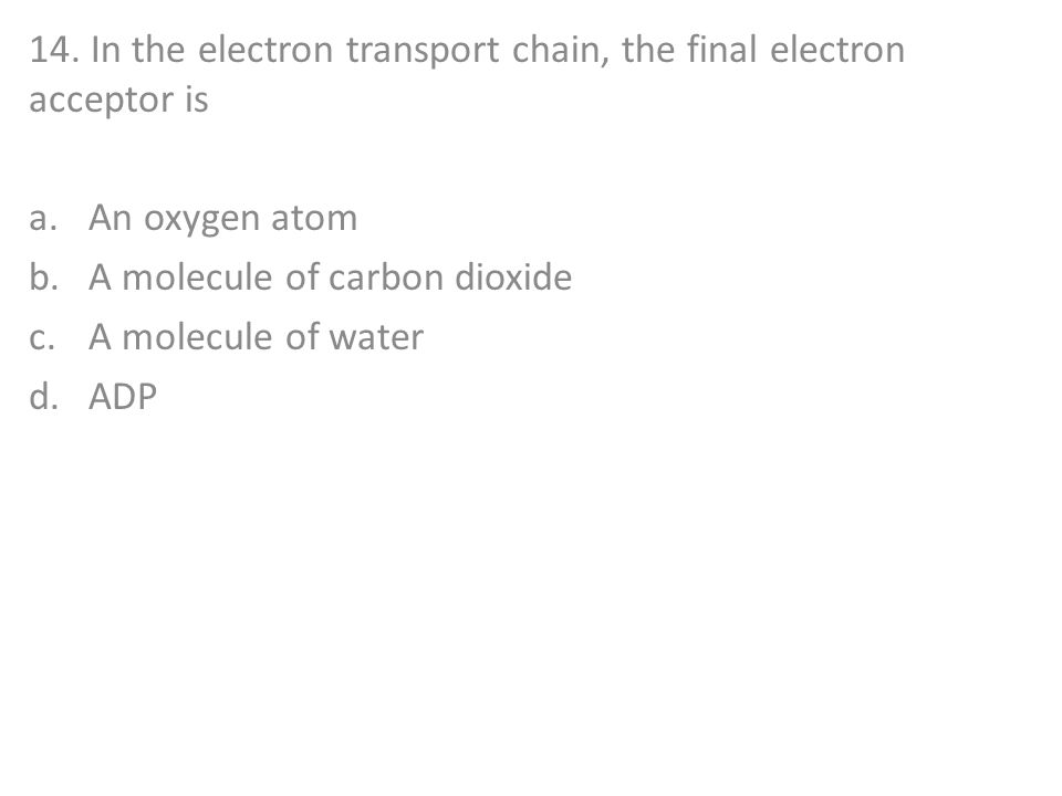 14. In the electron transport chain, the final electron acceptor is
