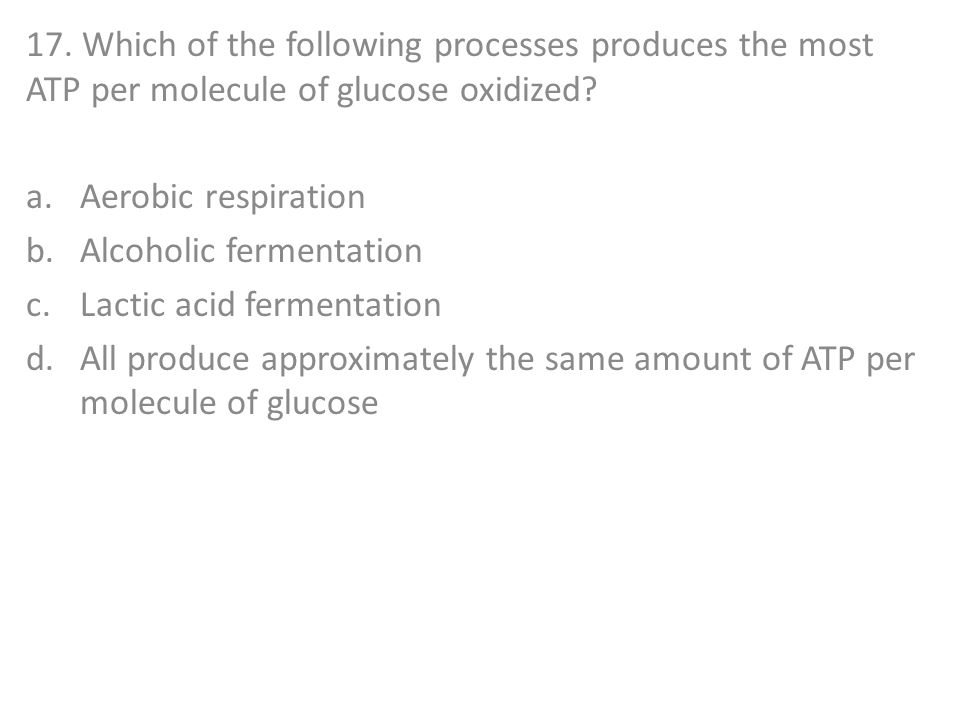 17. Which of the following processes produces the most ATP per molecule of glucose oxidized