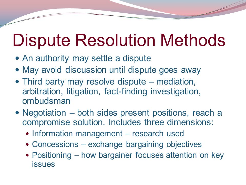dispute resolution This guide contains basic information about some of the alternative dispute resolution options available, giving practical tips on using alternative dispute resolution and.
