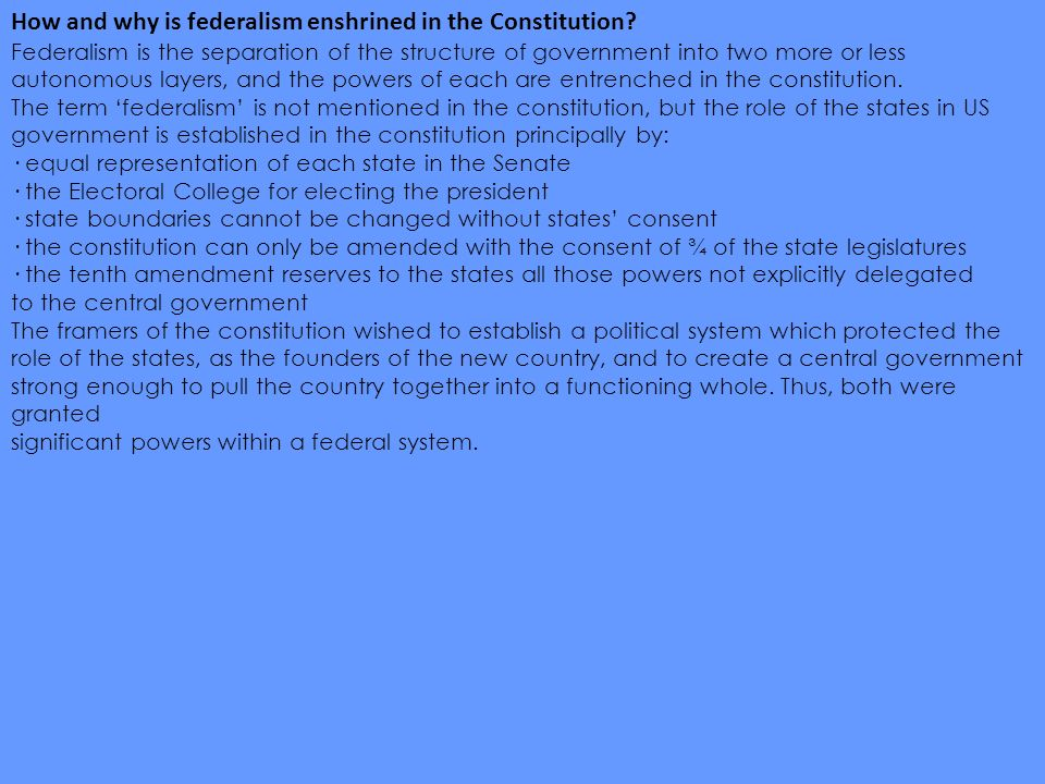 the importance of federalism Free essay: federalism plays an integral part in the growth and development of the united states of america and is a key factor in determining the basis of.