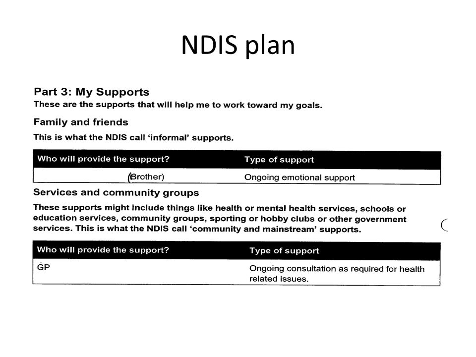 how to write ndis goals