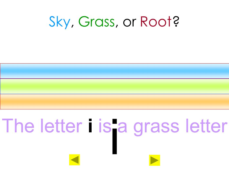 The letter i is a grass letter
