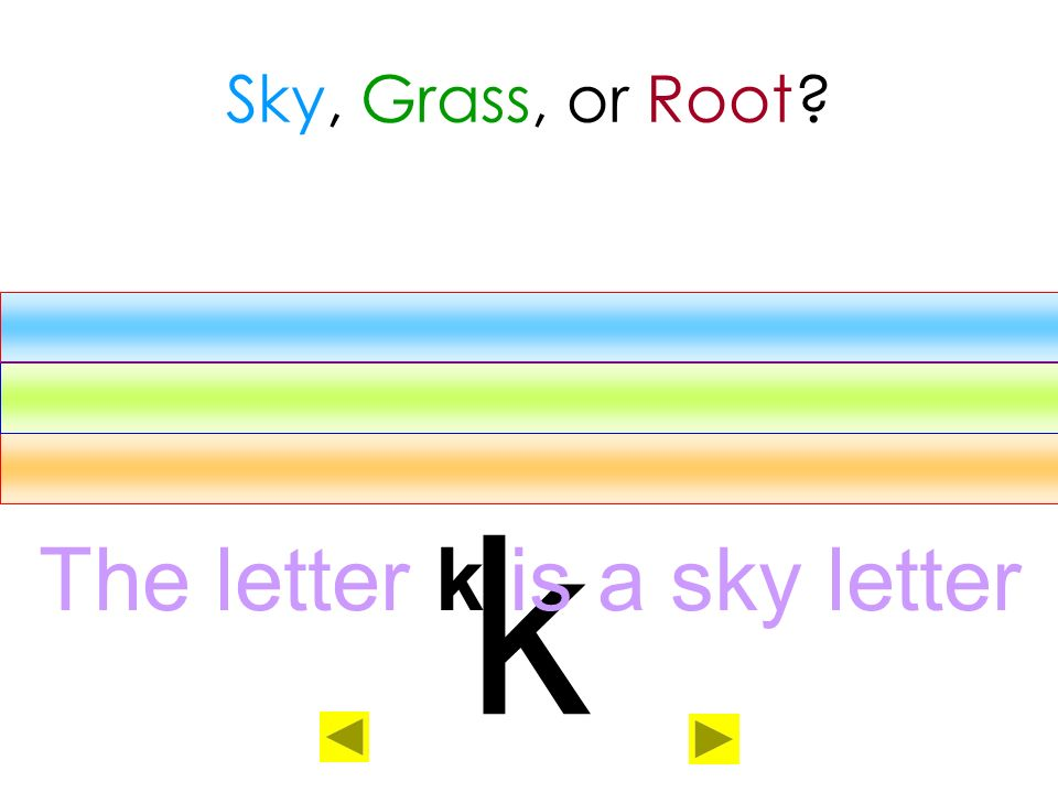 The letter k is a sky letter
