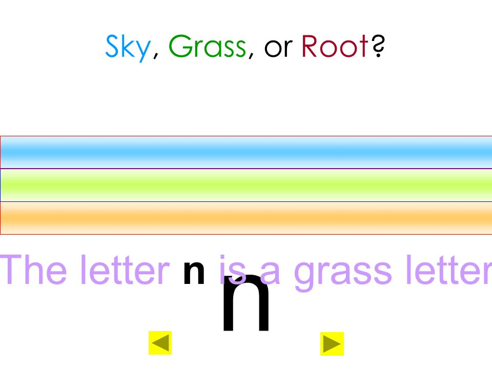 The letter n is a grass letter