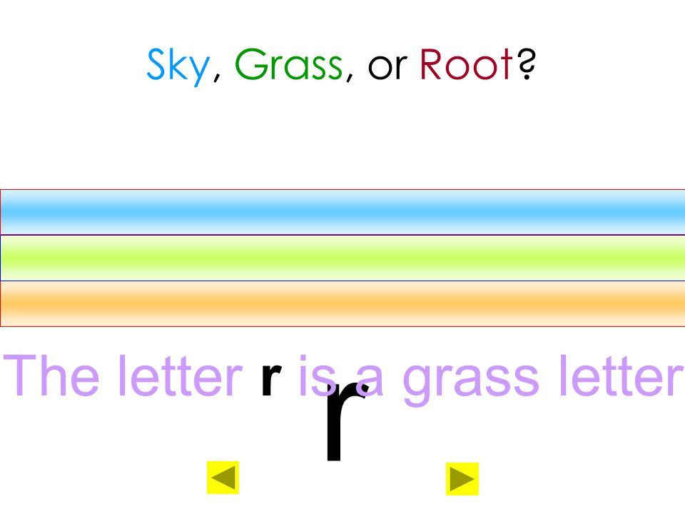 The letter r is a grass letter