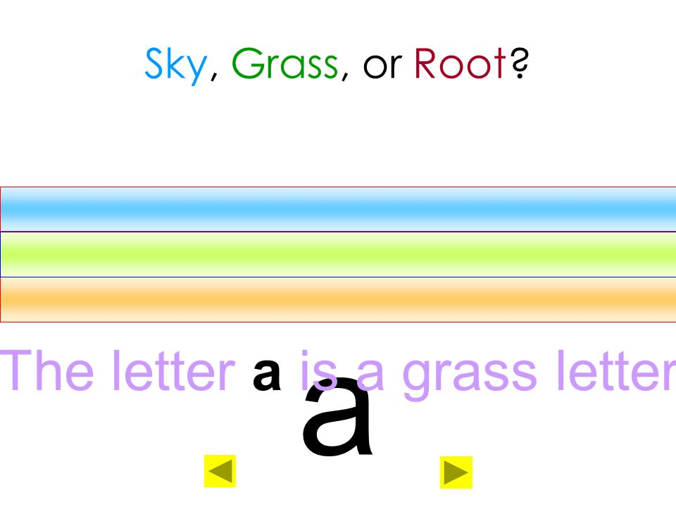 The letter a is a grass letter