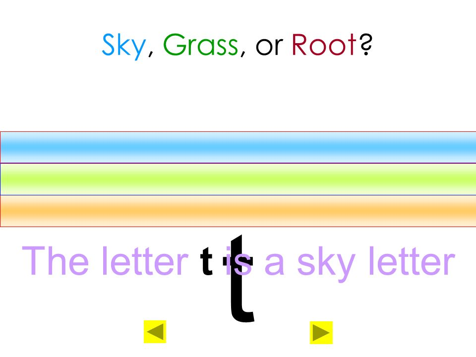 The letter t is a sky letter