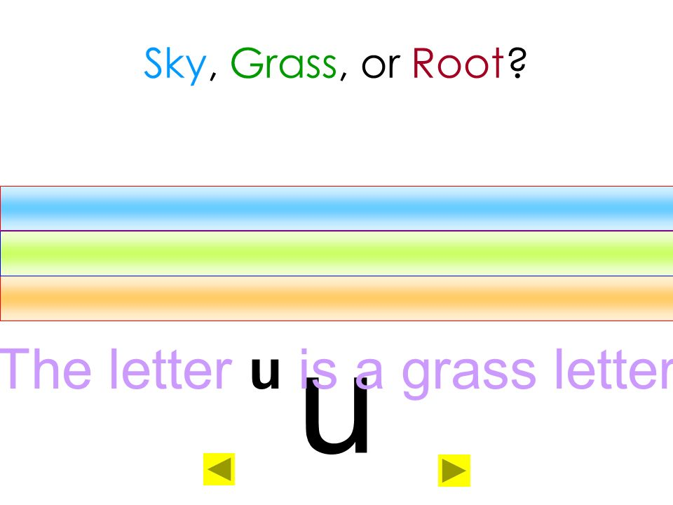 The letter u is a grass letter