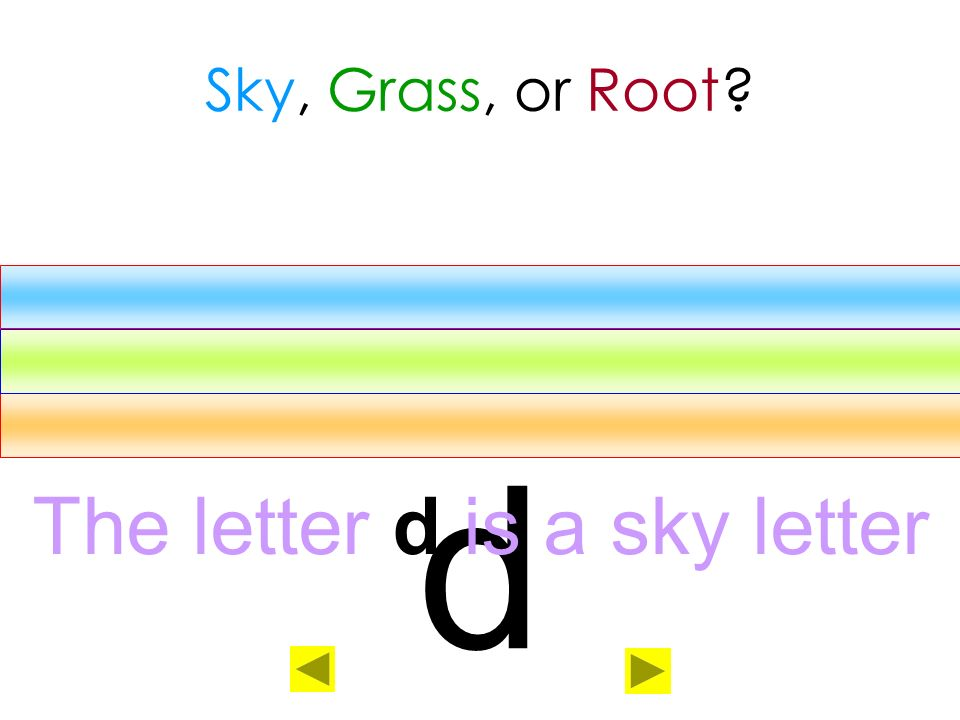 The letter d is a sky letter