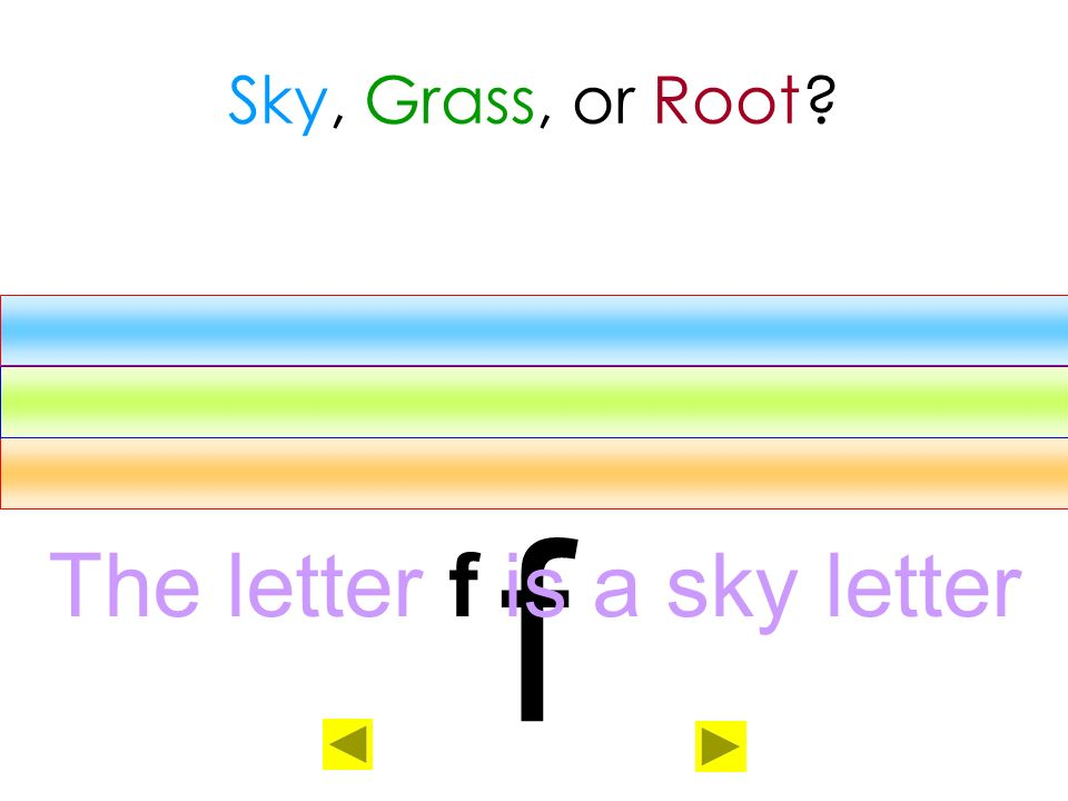 The letter f is a sky letter