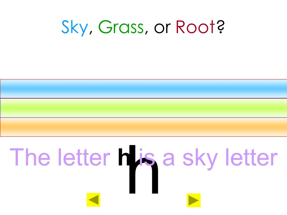 The letter h is a sky letter