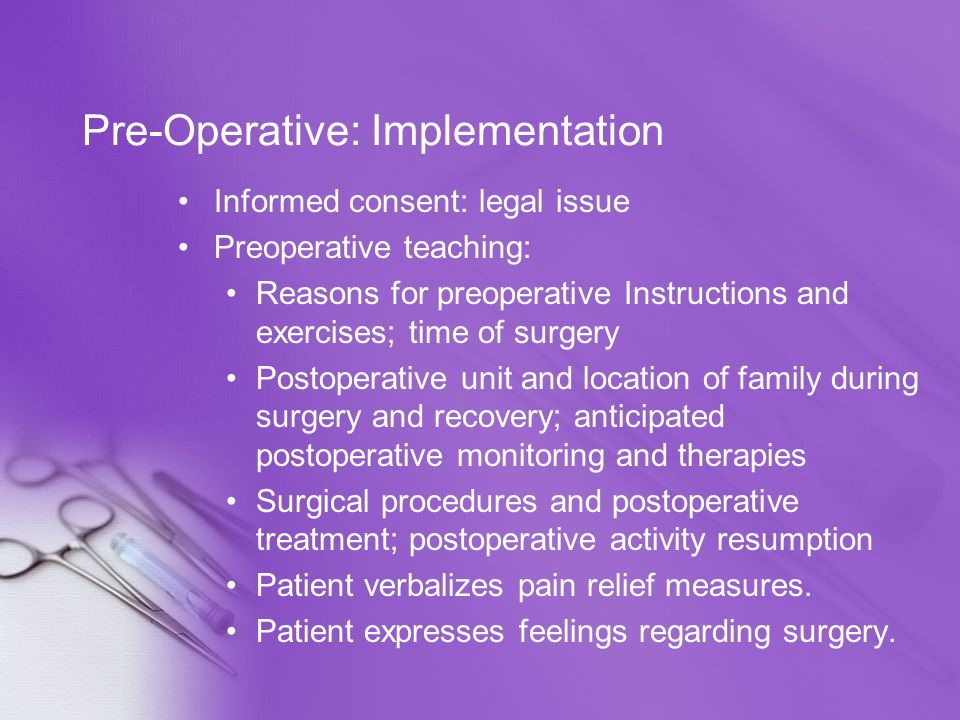 Pre-Operative: Implementation