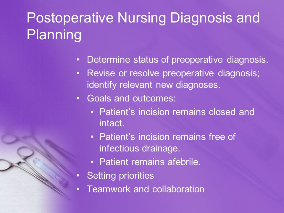 Postoperative Nursing Diagnosis and Planning