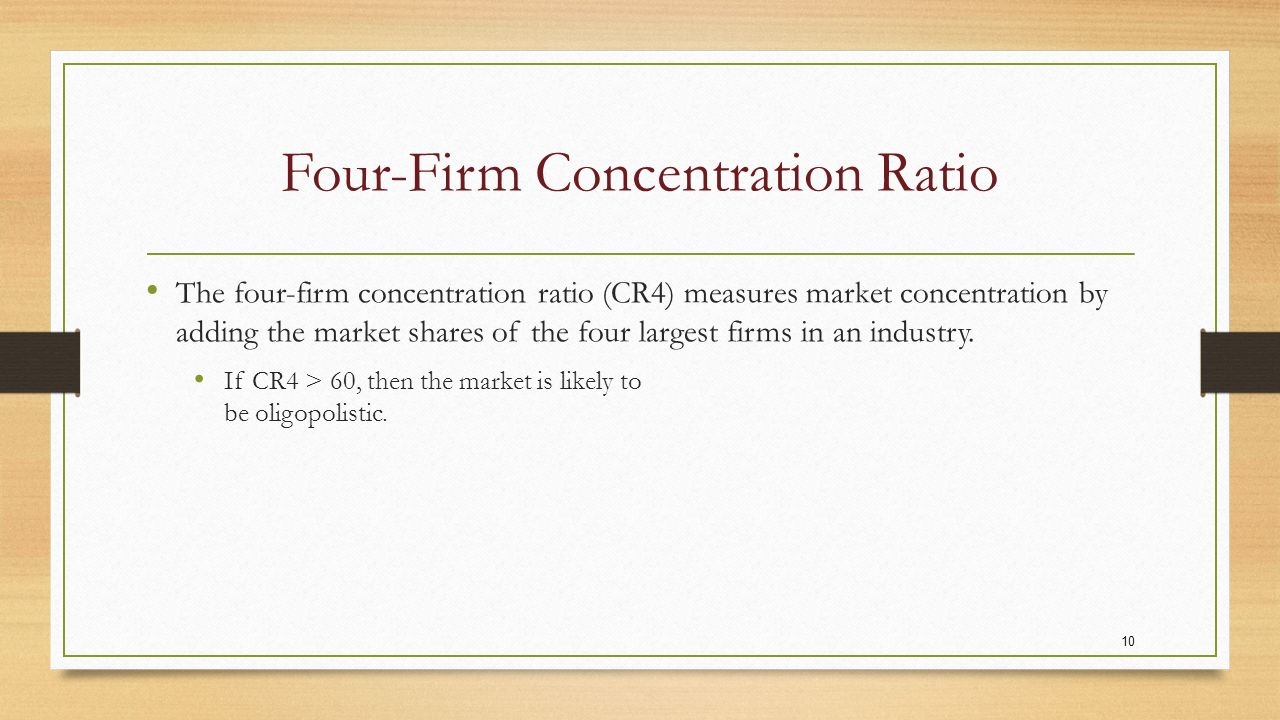 the four firm concentration ratio essay Need essay sample on relevance of structure-conduct-performance (scp)  hypothesis  the four-firm concentration ratio, which consists of the racket  share.