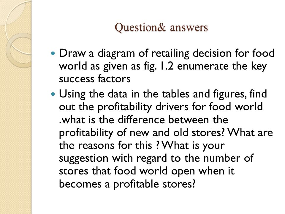 Question& answers Draw a diagram of retailing decision for food world as given as fig. 1.2 enumerate the key success factors.