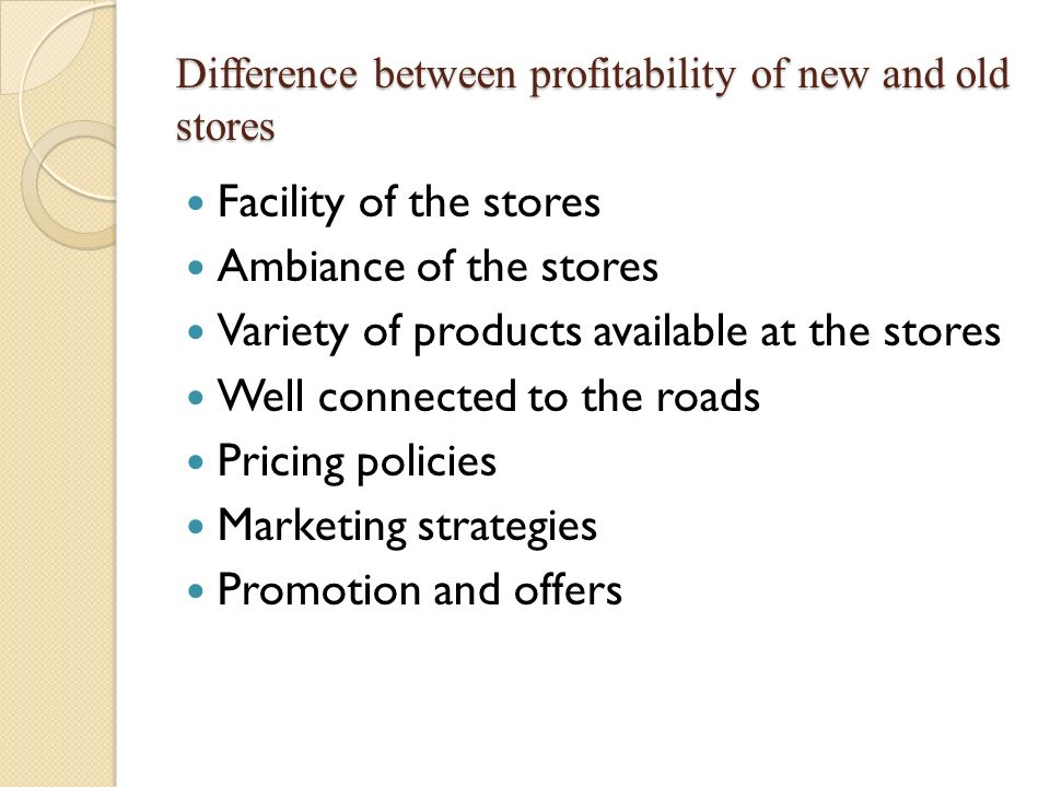Difference between profitability of new and old stores