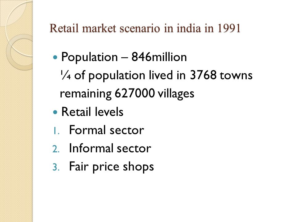 Retail market scenario in india in 1991