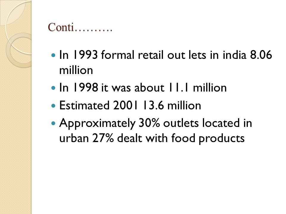 In 1993 formal retail out lets in india 8.06 million