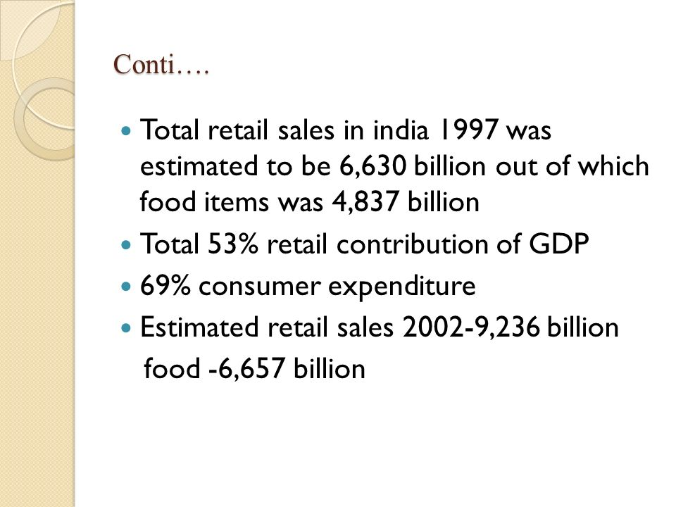 Total 53% retail contribution of GDP 69% consumer expenditure