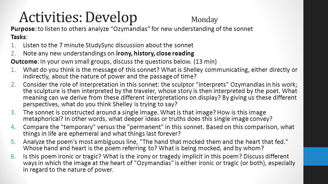 "interpretation of ozymandias Theme and point of view: ""ozymandias practice assignments range from creative narrative to persuasive essay to a style analysis essay."