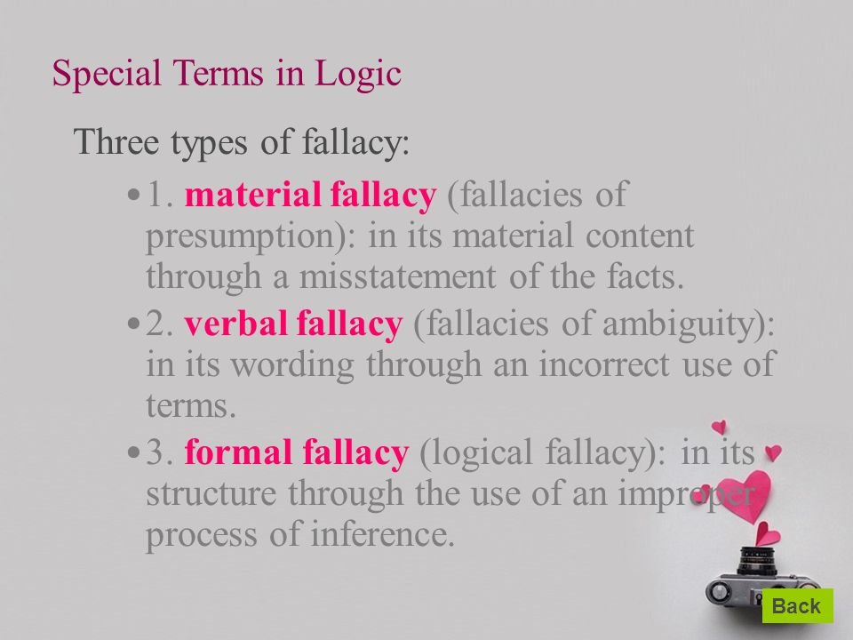 types of fallacies When arguing with someone in an attempt to get at an answer or an explanation,  you may come across a person who makes logical fallacies such discussions.