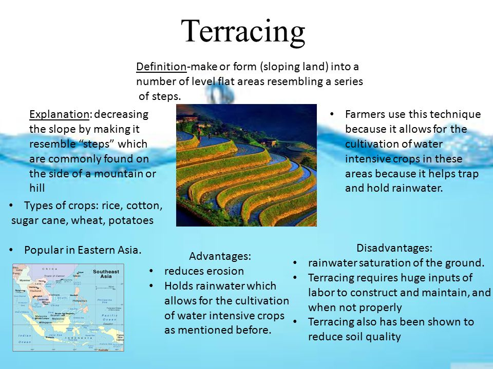 Soil conservation with farming terracing contour plowing for Definition for terrace