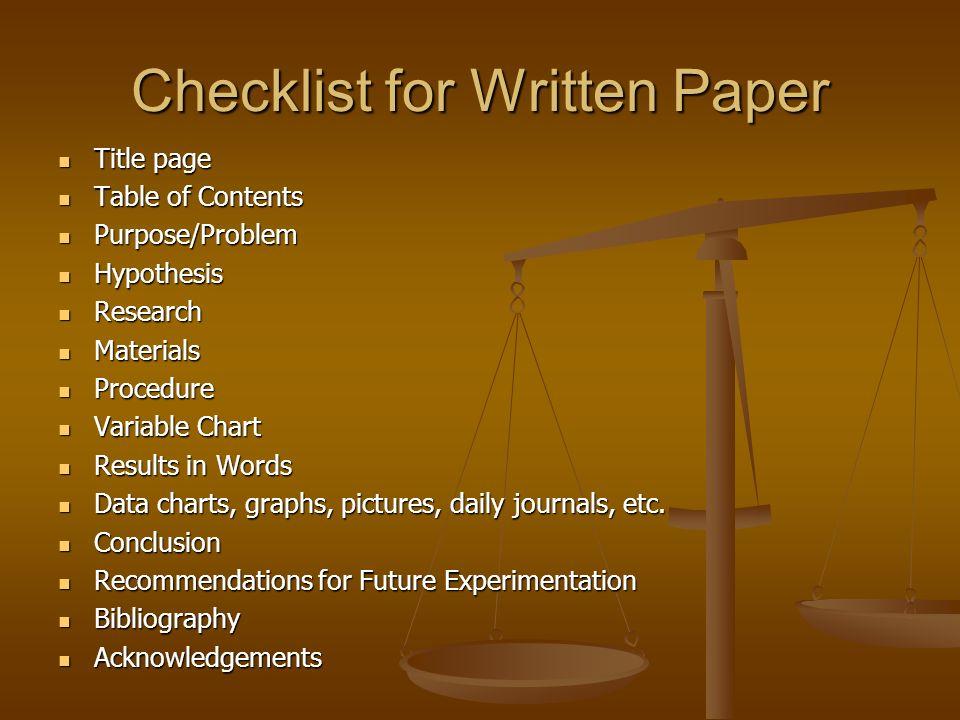 Checklist for Written Paper