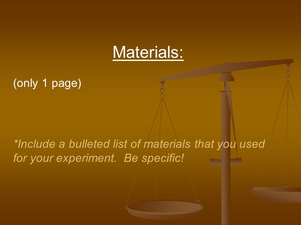 Materials: (only 1 page)