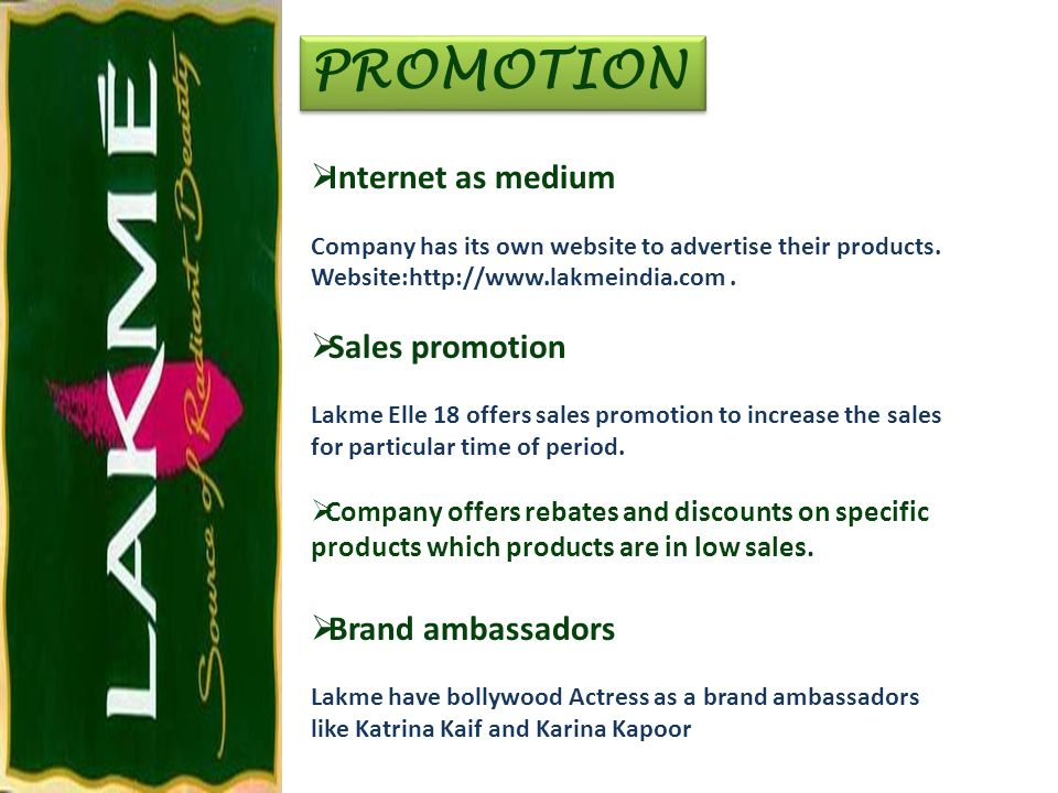 PROMOTION Internet as medium Sales promotion Brand ambassadors