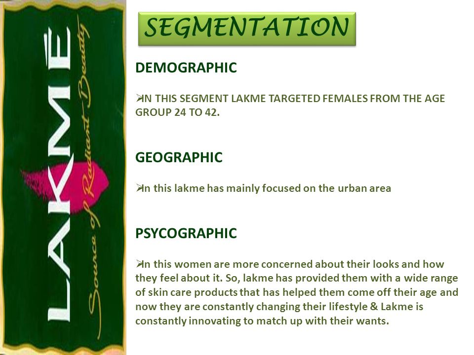 SEGMENTATION DEMOGRAPHIC GEOGRAPHIC PSYCOGRAPHIC
