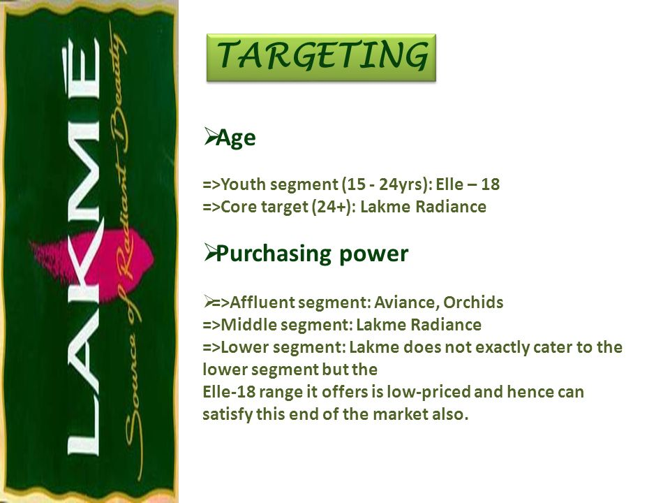 TARGETING Age Purchasing power