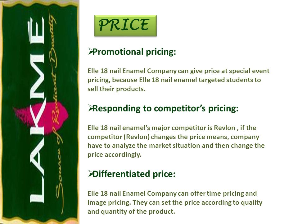 PRICE Promotional pricing: Responding to competitor's pricing:
