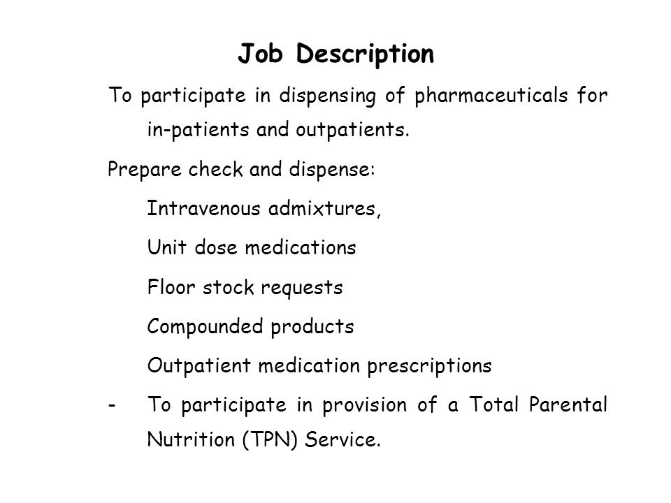 Pharmacist Job Description