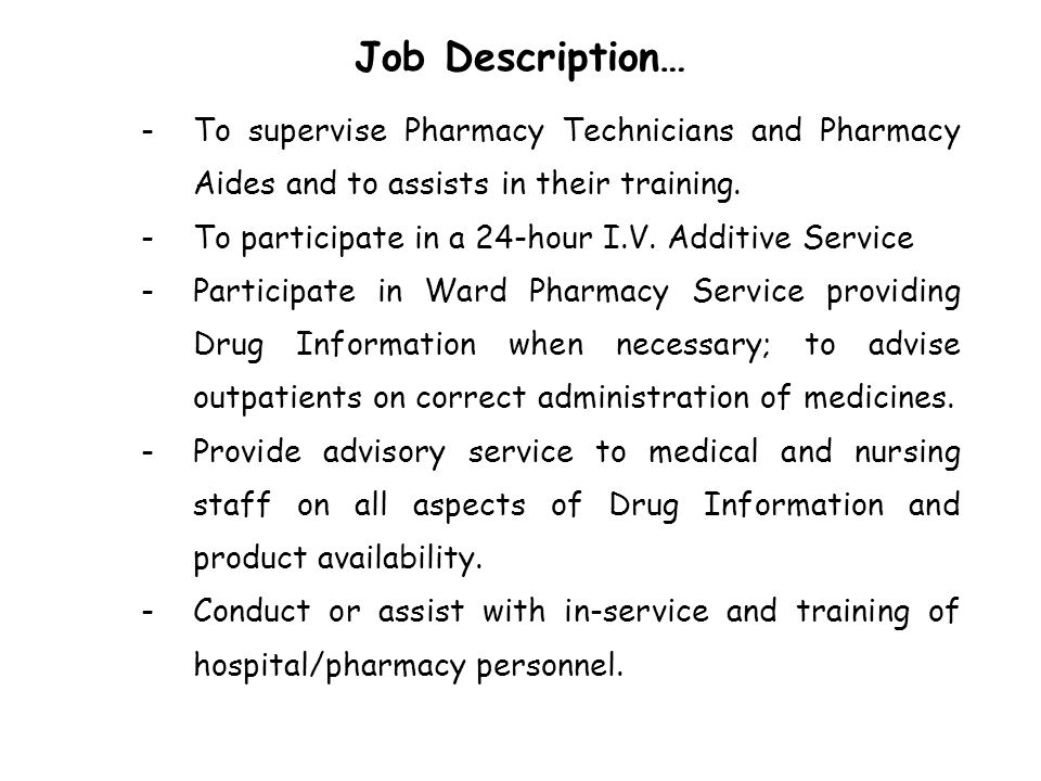 Hospital Pharmacy ppt download – Pharmacist Job Description