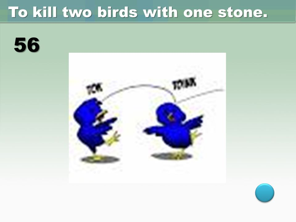kill two bird with one stone The proverbs kill two birds with one stone means performing two tasks at the same time there are so many examples that you can understand what the proverbs means, for instance going to the gas station to put fuel and pump the tire.