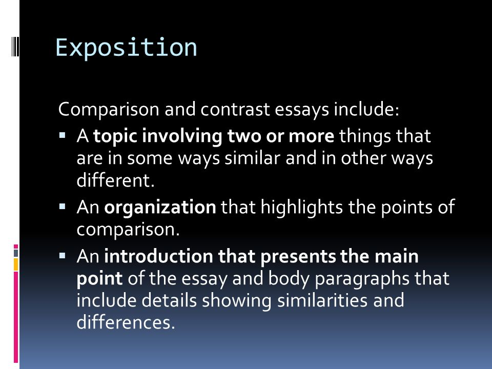 what are the two types of organization in compare and contrast essays Compare and contrast essays identify the similarities and highlight the  differences between two topicsthis time-saving  when writing compare and  contrast essays, it's best to select topics, pre-write by developing categories,  develop a thesis and organize the essay with compare  started more writing  types of essays.