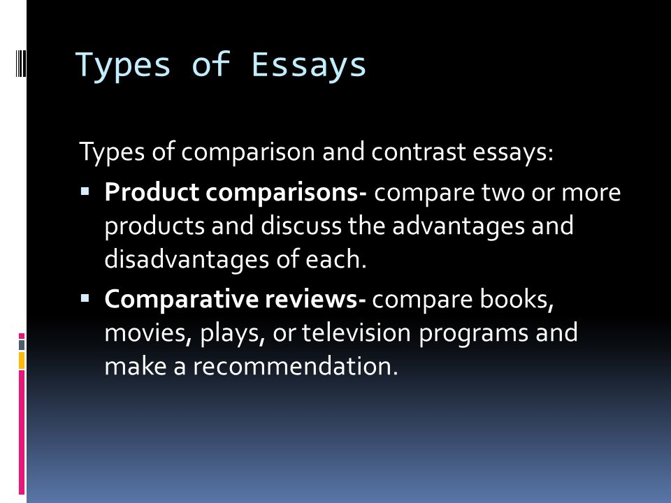compare and contrast essay on two books Comparison/contrast essay where the focus is on the ways in which certain things or ideas – usually  they will compare and contrast the two  the book took .