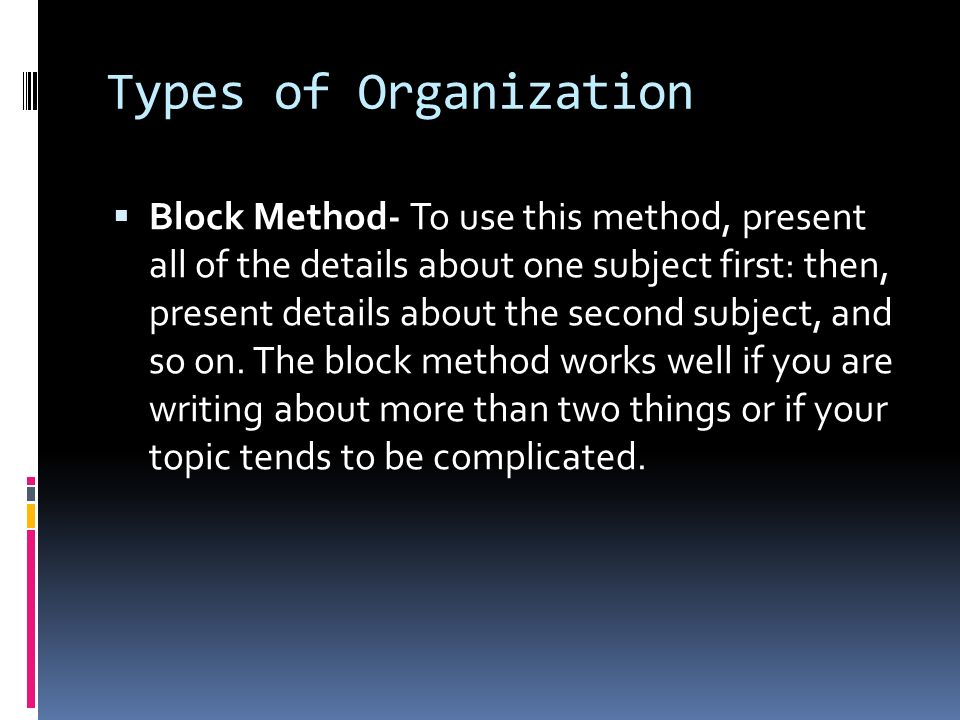 Five types of paragraph organization